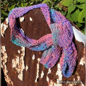Open knit silk fashion scarf